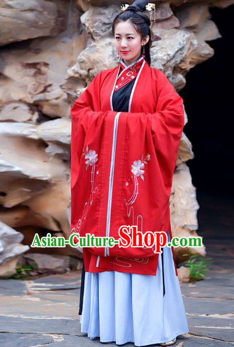 Traditional Chinese Han Dynasty Palace Lady Imperial Princess Hanfu Embroidered Costume Complete Set for Women