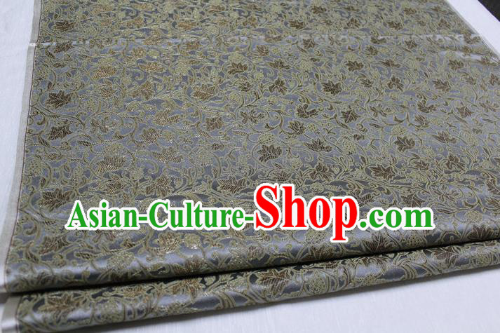 Chinese Traditional Ancient Costume Royal Palace Tang Suit Grey Brocade Mongolian Robe Satin Fabric Hanfu Material