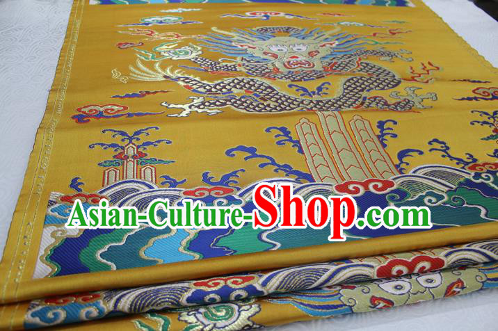 Chinese Traditional Ancient Costume Royal Palace Dragon Pattern Mongolian Robe Brocade Satin Fabric Hanfu Material