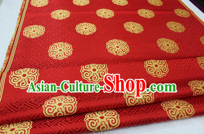 Chinese Traditional Ancient Costume Royal Palace Pattern Mongolian Robe Red Brocade Satin Fabric Hanfu Material