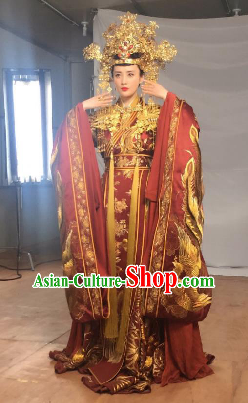 Traditional Ancient Chinese Tang Dynasty Imperial Empress Wedding Embroidered Tailing Dress Costume and Headpiece Complete Set for Women