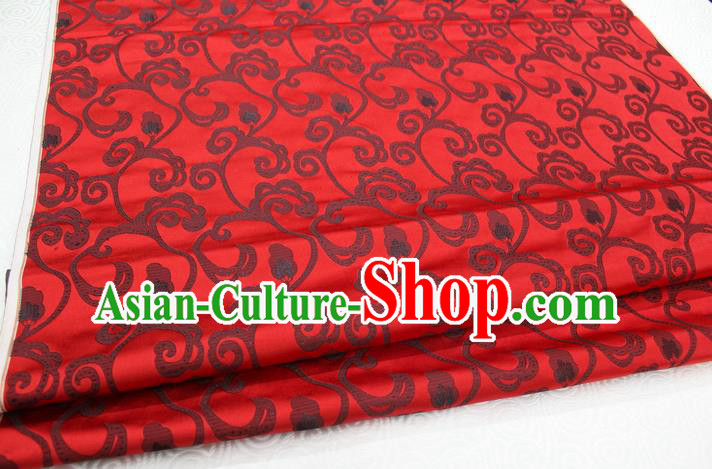 Chinese Traditional Clothing Palace Pattern Tang Suit Cheongsam Red Brocade Ancient Costume Satin Fabric Hanfu Material