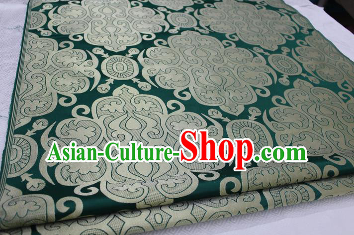 Chinese Traditional Ancient Costume Royal Palace Pattern Mongolian Robe Green Brocade Satin Fabric Hanfu Material