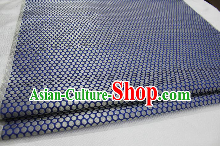 Chinese Traditional Ancient Costume Royal Palace Pattern Mongolian Robe Blue Brocade Tibetan Robe Satin Fabric Hanfu Material