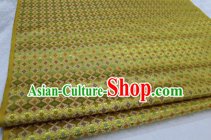 Chinese Traditional Ancient Costume Royal Palace Pattern Mongolian Robe Yellow Brocade Tibetan Robe Satin Fabric Hanfu Material