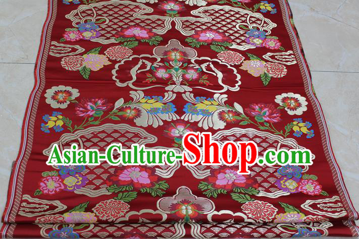 Chinese Traditional Ancient Costume Royal Palace Pattern Tibetan Robe Red Brocade Xiuhe Suit Wedding Dress Satin Fabric Hanfu Material