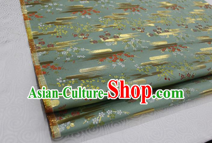 Chinese Traditional Ancient Costume Kimono Green Brocade Palace Pattern Cheongsam Satin Fabric Hanfu Material