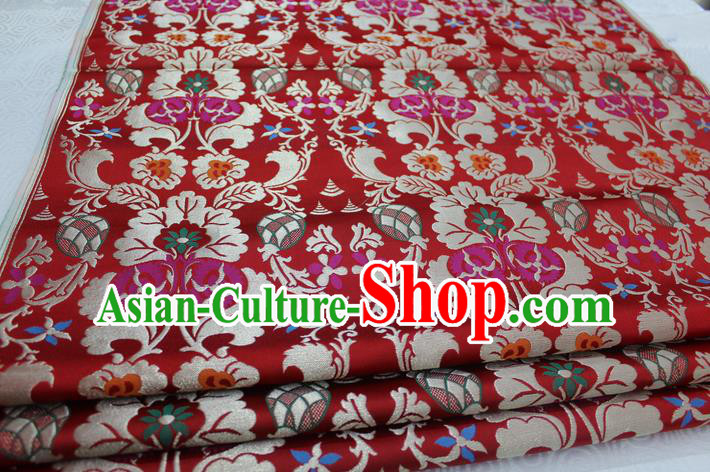 Chinese Traditional Clothing Palace Pattern Tang Suit Cheongsam Red Brocade Ancient Costume Mongolian Robe Satin Fabric Hanfu Material