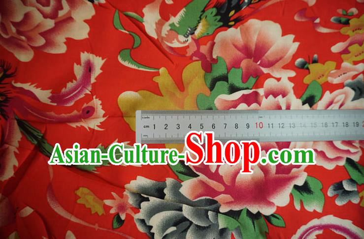 Chinese Traditional Royal Court Peony Pattern Red Cotton Fabric Ancient Costume Tang Suit Cheongsam Hanfu Material