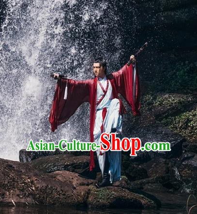 Traditional Chinese Jin Dynasty Swordsman Hanfu Costume Complete Set for Men