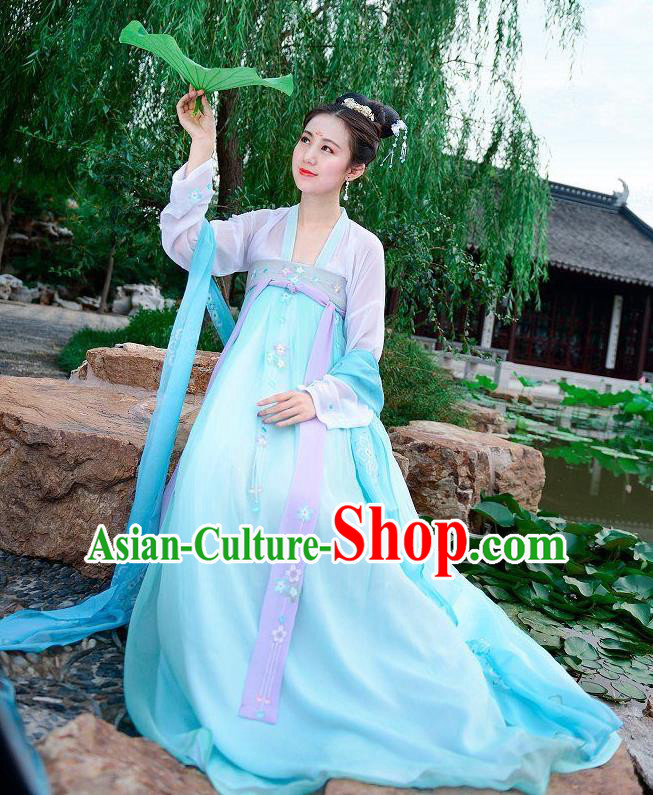 Traditional Chinese Tang Dynasty Imperial Princess Palace Lady Hanfu Embroidered Costume for Women