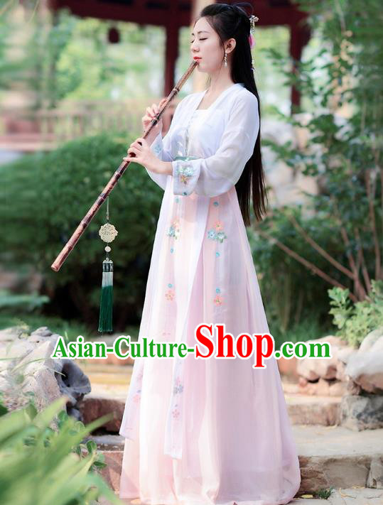 Traditional Chinese Tang Dynasty Palace Lady Ancient Fairy Princess Hanfu Embroidered Costume for Women