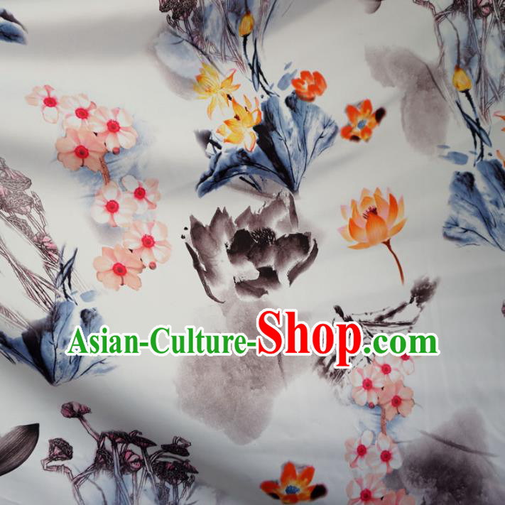 Chinese Traditional Ink Painting White Brocade Xiuhe Suit Fabric Ancient Costume Tang Suit Cheongsam Hanfu Material