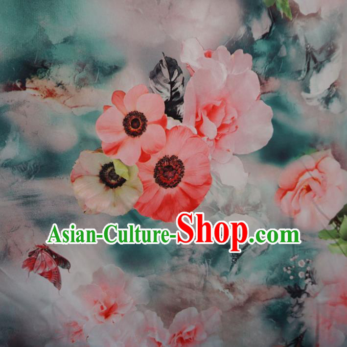 Chinese Traditional Ink Painting Green Brocade Xiuhe Suit Fabric Ancient Costume Tang Suit Cheongsam Hanfu Material