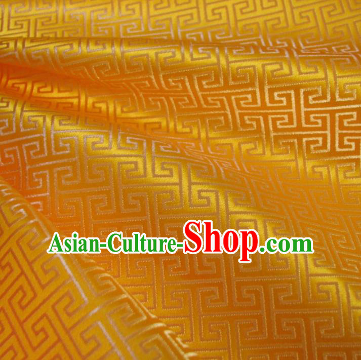 Chinese Traditional Royal Palace Pattern Design Yellow Brocade Xiuhe Suit Fabric Ancient Costume Tang Suit Cheongsam Hanfu Material