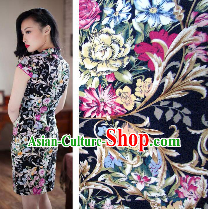Chinese Traditional Royal Palace Pattern Design Black Brocade Fabric Ancient Costume Tang Suit Cheongsam Hanfu Material