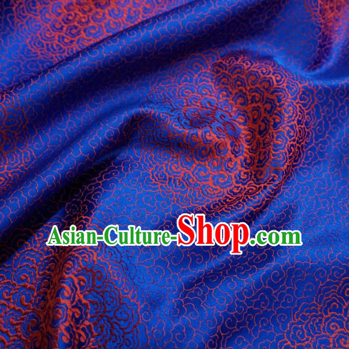 Chinese Traditional Royal Palace Pattern Design Royalblue Brocade Fabric Ancient Costume Tang Suit Cheongsam Hanfu Material