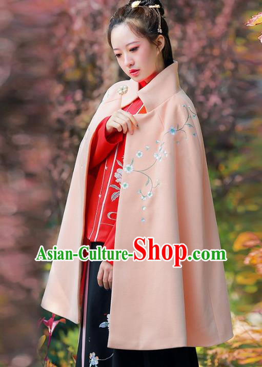 Traditional Chinese Ming Dynasty Young Lady Hanfu Costume Embroidered Pink Short Cloak for Women