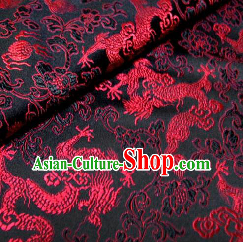 Chinese Traditional Royal Palace Dragons Design Hanfu Black Brocade Fabric Ancient Costume Tang Suit Cheongsam Material