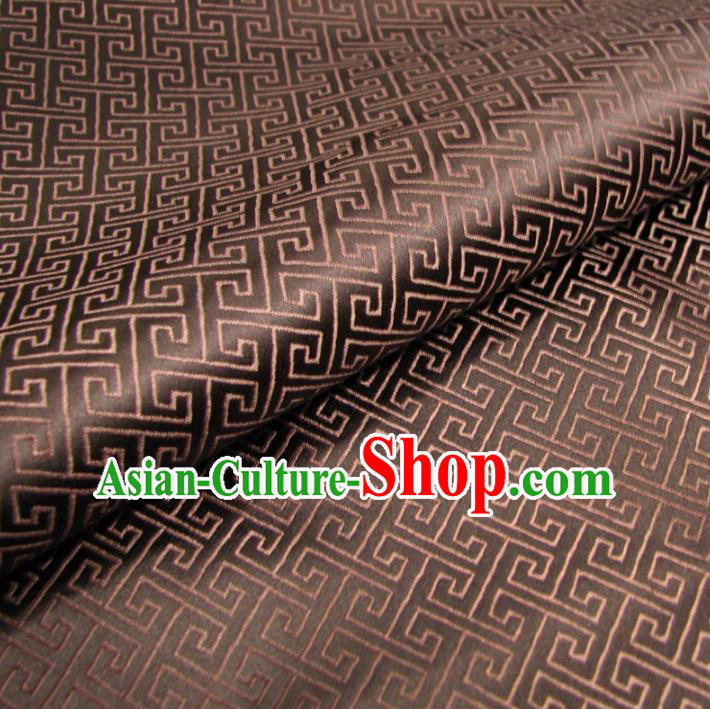 Chinese Traditional Palace Pattern Hanfu Brown Brocade Mongolian Robe Fabric Ancient Costume Tang Suit Cheongsam Material