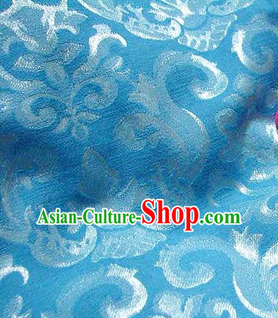 Chinese Traditional Royal Palace Pattern Design Hanfu Blue Brocade Fabric Ancient Costume Tang Suit Cheongsam Material
