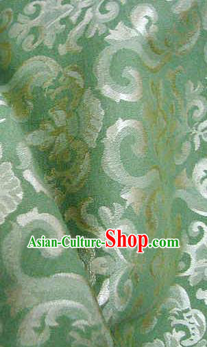 Chinese Traditional Royal Palace Pattern Design Hanfu Green Brocade Fabric Ancient Costume Tang Suit Cheongsam Material
