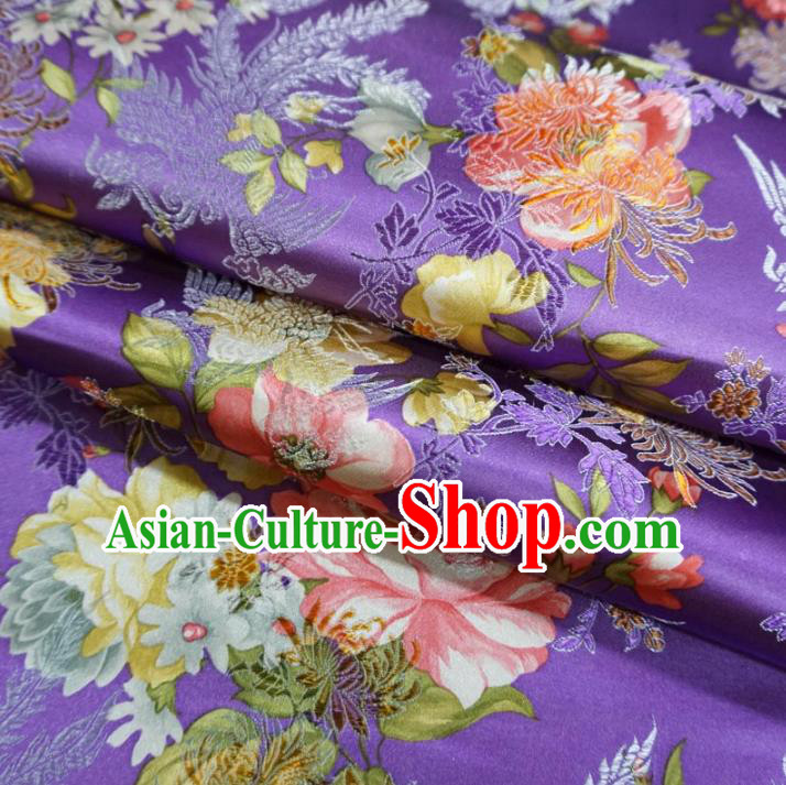 Chinese Traditional Printing Peony Flowers Pattern Hanfu Purple Brocade Fabric Ancient Costume Tang Suit Cheongsam Material