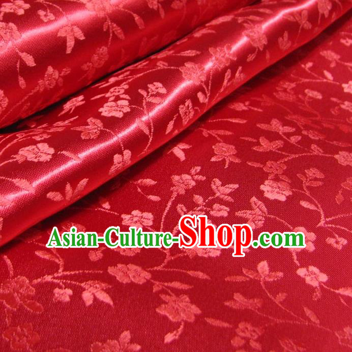 Chinese Traditional Palace Wintersweet Pattern Design Hanfu Red Brocade Fabric Ancient Costume Tang Suit Cheongsam Material