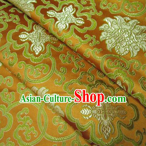 Chinese Traditional Palace Lotus Pattern Design Hanfu Yellow Brocade Fabric Ancient Costume Tang Suit Cheongsam Material
