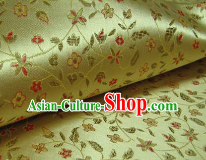 Chinese Traditional Palace Pattern Design Hanfu Yellow Brocade Fabric Ancient Costume Tang Suit Cheongsam Material