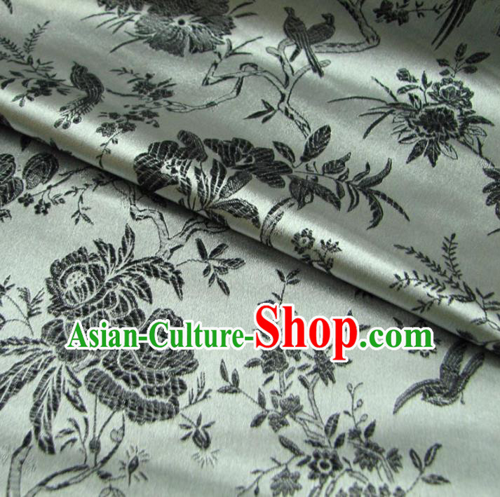 Chinese Traditional Palace Flowers Pattern Design Hanfu Grey Brocade Fabric Ancient Costume Tang Suit Cheongsam Material