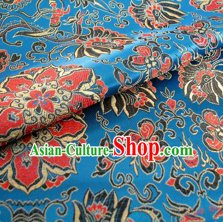 Chinese Traditional Palace Rich Pattern Design Hanfu Blue Brocade Fabric Ancient Costume Tang Suit Cheongsam Material