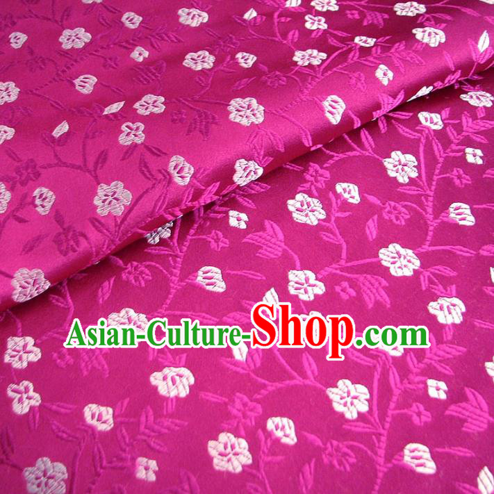 Chinese Traditional Palace Flowers Pattern Design Hanfu Rosy Brocade Fabric Ancient Costume Tang Suit Cheongsam Material