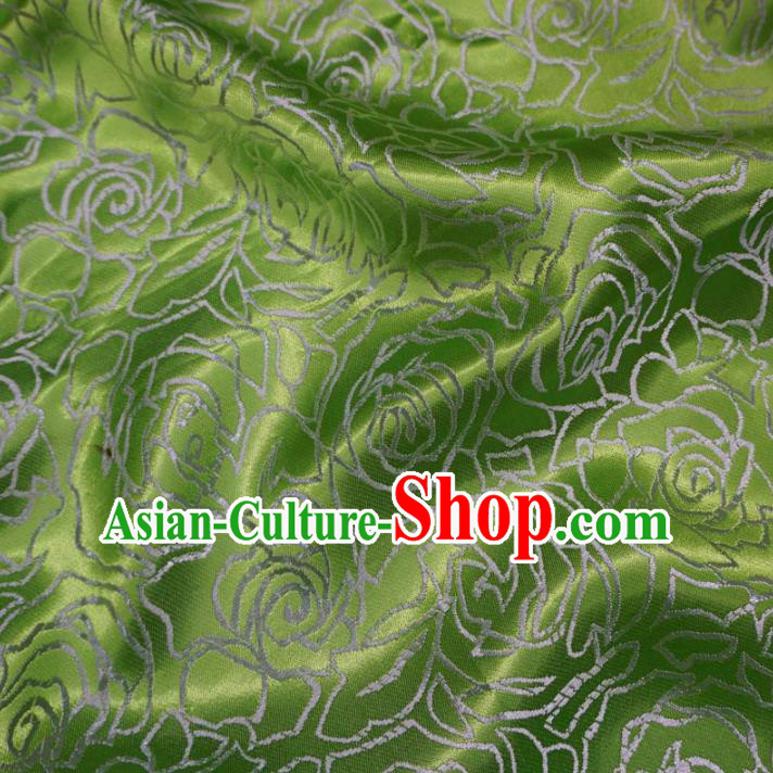 Chinese Traditional Palace Rose Pattern Hanfu Green Brocade Fabric Ancient Costume Tang Suit Cheongsam Material