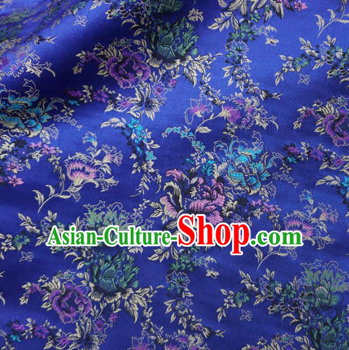 Chinese Traditional Palace Peony Pattern Hanfu Blue Brocade Fabric Ancient Costume Tang Suit Cheongsam Material