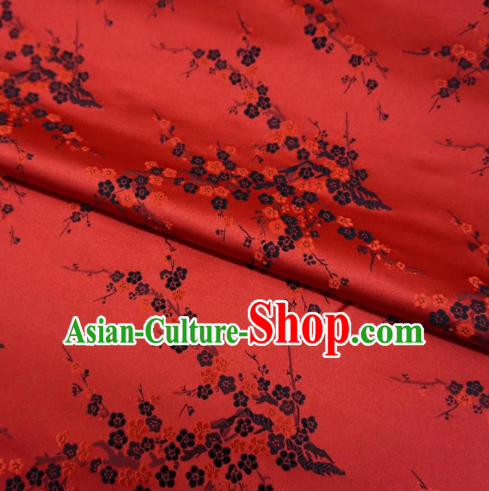 Chinese Traditional Palace Wintersweet Flowers Pattern Hanfu Red Brocade Fabric Ancient Costume Tang Suit Cheongsam Material