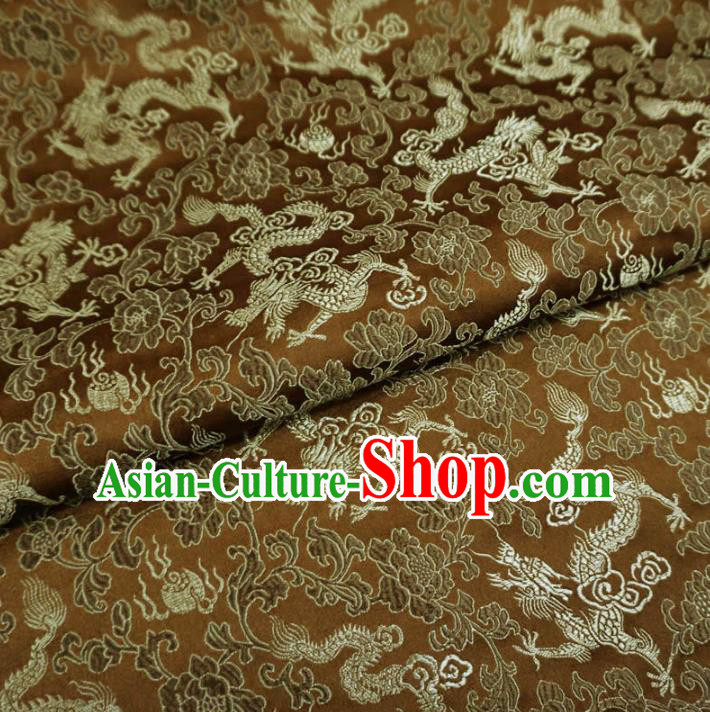 Chinese Traditional Palace Dragons Pattern Hanfu Brown Brocade Fabric Ancient Costume Tang Suit Cheongsam Material