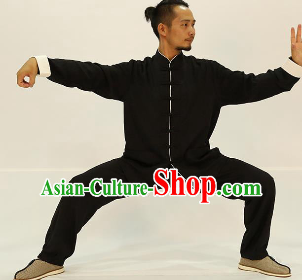 Traditional Chinese Kung Fu Black Linen Costume, China Martial Arts Uniform Tai Ji Tang Suit Plated Buttons Clothing for Men