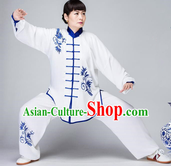 Traditional Chinese Kung Fu Embroidered Costume, China Martial Arts White Uniform Tai Ji Tang Suit Plated Buttons Clothing for Women