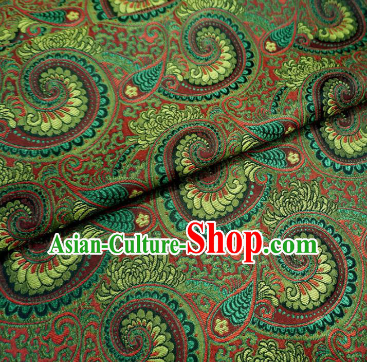 Chinese Traditional Palace Conch Pattern Hanfu Green Brocade Fabric Ancient Costume Tang Suit Cheongsam Material