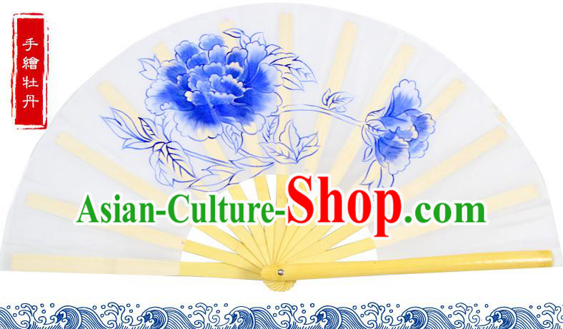 Chinese Traditional Hands Painted Peony Fans Oriental Fan Tai Ji Dance Folding Fan