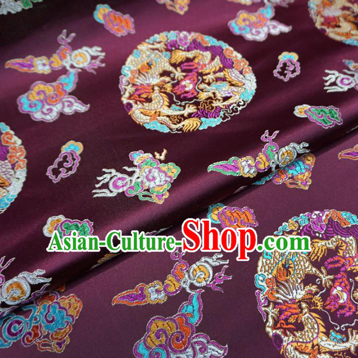 Chinese Traditional Palace Dragons Pattern Hanfu Purple Brocade Fabric Ancient Costume Tang Suit Cheongsam Material