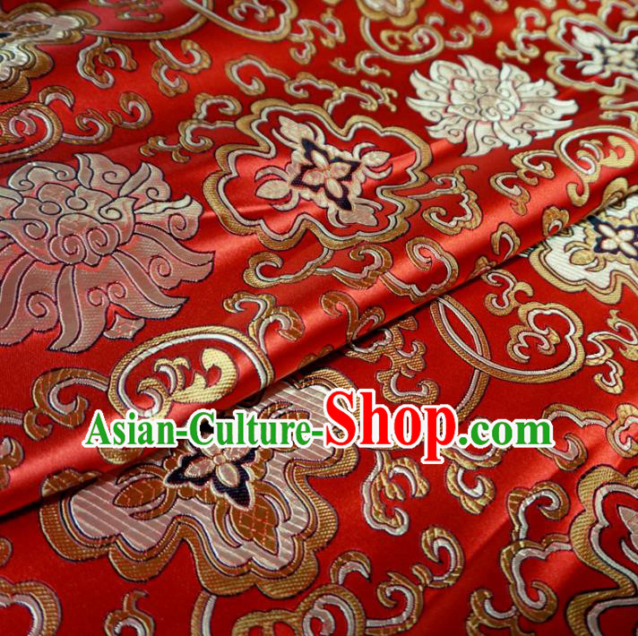 Chinese Traditional Palace Pattern Hanfu Red Brocade Fabric Ancient Costume Tang Suit Cheongsam Material