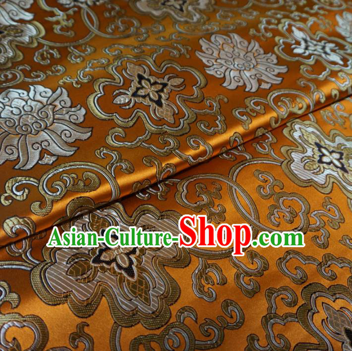 Chinese Traditional Palace Pattern Hanfu Yellow Brocade Fabric Ancient Costume Tang Suit Cheongsam Material