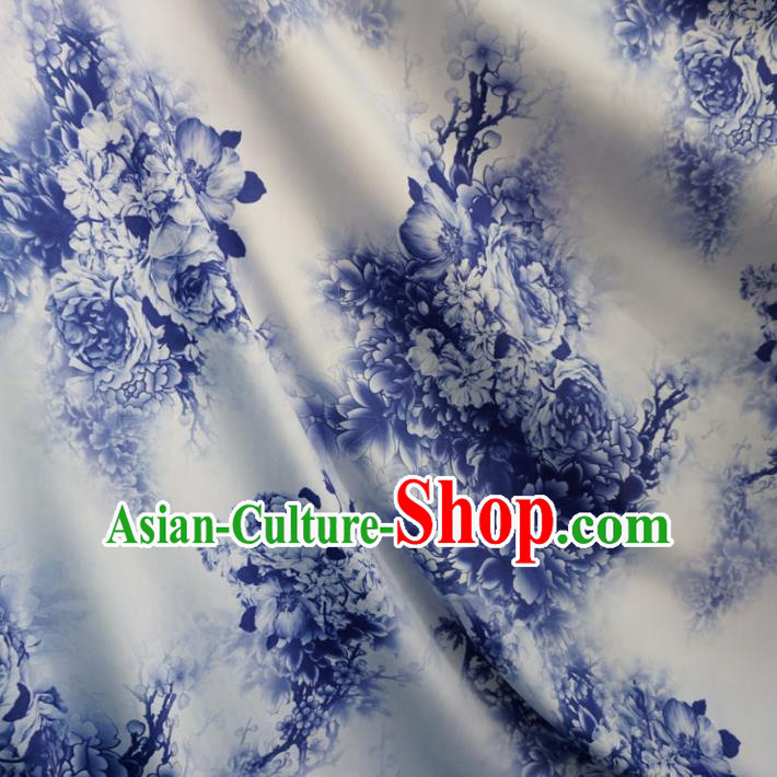 Chinese Traditional Palace Printing Peony Pattern Hanfu White Brocade Fabric Ancient Costume Tang Suit Cheongsam Material
