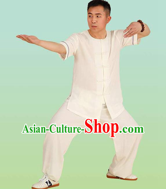 Chinese Linen Kung Fu Short Sleeve Costume, China Traditional Martial Arts Kung Fu Tai Ji Plated Buttons Uniform for Adult