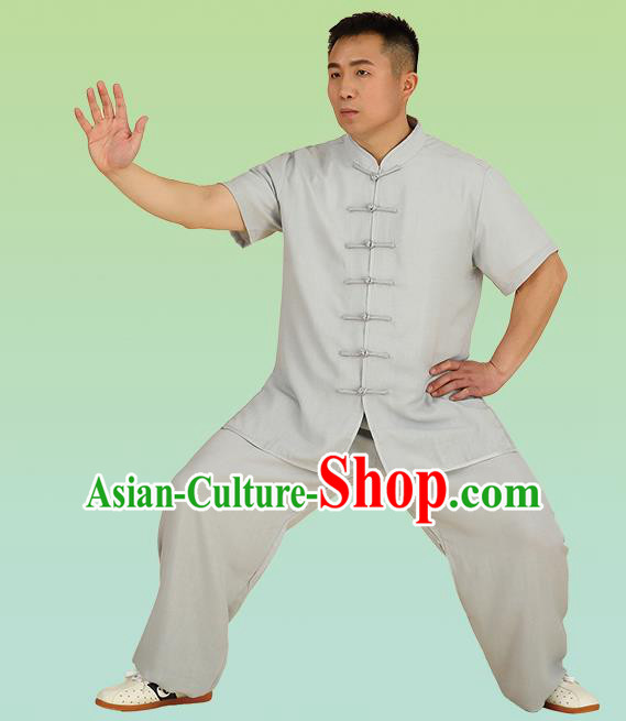 Chinese Linen Kung Fu Short Sleeve Grey Costume, China Traditional Martial Arts Kung Fu Tai Ji Plated Buttons Uniform for Men