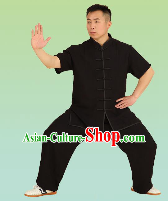 Chinese Linen Kung Fu Short Sleeve Black Costume, China Traditional Martial Arts Kung Fu Tai Ji Plated Buttons Uniform for Men
