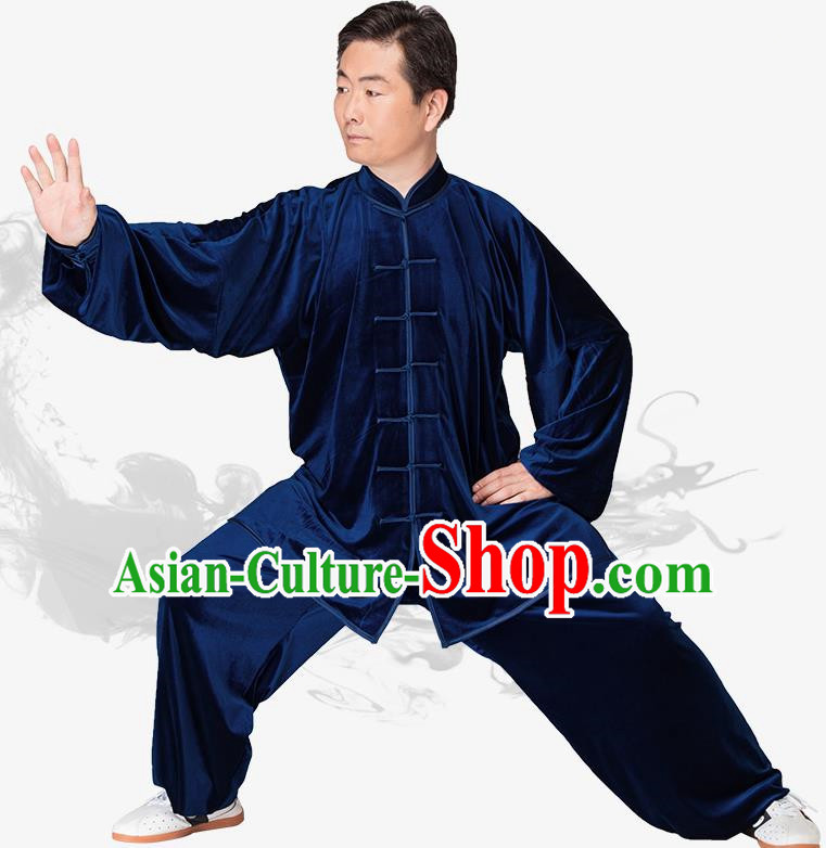 Chinese Kung Fu Black Navy Velvet Plated Buttons Costume Traditional Martial Arts Kung Fu Tai Ji Uniform for Women for Men