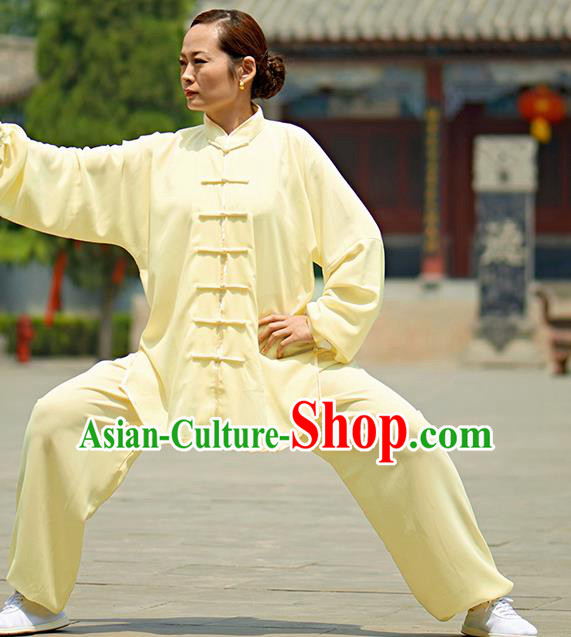 Chinese Kung Fu Plated Buttons Costume, Traditional Martial Arts Kung Fu Tai Ji Yellow Uniform for Women for Men
